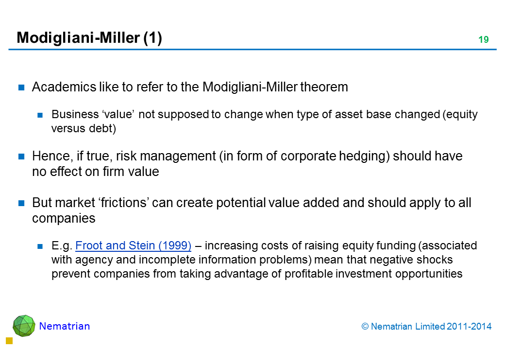 Bullet points include: Academics like to refer to the Modigliani-Miller theorem Business 'value' not supposed to change when type of asset base changed (equity versus debt) Hence, if true, risk management (in form of corporate hedging) should have no effect on firm value But market 'frictions' can create potential value added and should apply to all companies E.g. Froot and Stein (1999) – increasing costs of raising equity funding (associated with agency and incomplete information problems) mean that negative shocks prevent companies from taking advantage of profitable investment opportunities