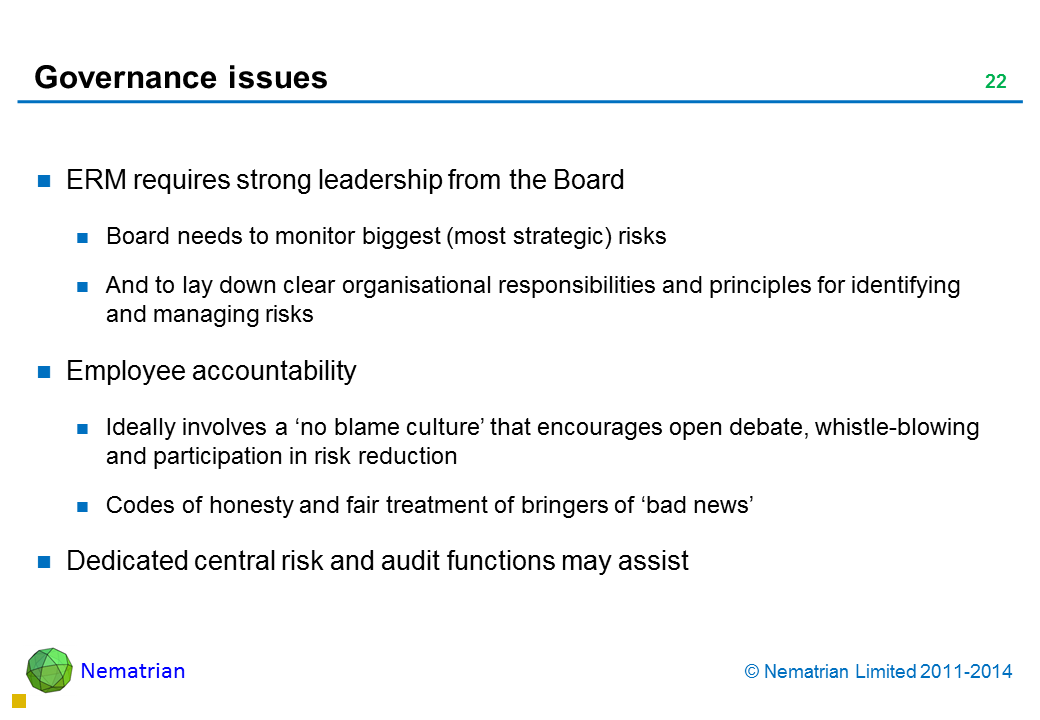 Bullet points include: ERM requires strong leadership from the Board Board needs to monitor biggest (most strategic) risks And to lay down clear organisational responsibilities and principles for identifying and managing risks Employee accountability Ideally involves a 'no blame culture' that encourages open debate, whistle-blowing and participation in risk reduction Codes of honesty and fair treatment of bringers of 'bad news' Dedicated central risk and audit functions may assist