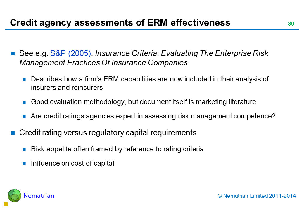 Bullet points include: See e.g. S&P (2005). Insurance Criteria: Evaluating The Enterprise Risk Management Practices Of Insurance Companies Describes how a firm's ERM capabilities are now included in their analysis of insurers and reinsurers Good evaluation methodology, but document itself is marketing literature Are credit ratings agencies expert in assessing risk management competence? Credit rating versus regulatory capital requirements Risk appetite often framed by reference to rating criteria Influence on cost of capital