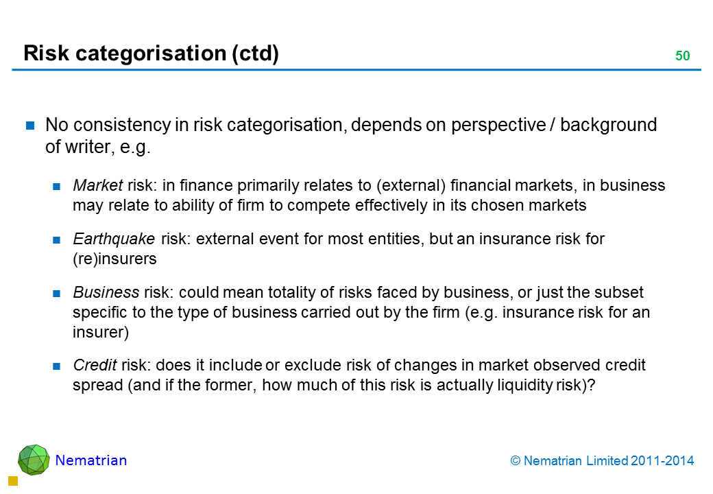 Bullet points include: No consistency in risk categorisation, depends on perspective / background of writer, e.g.  Market risk: in finance primarily relates to (external) financial markets, in business may relate to ability of firm to compete effectively in its chosen markets Earthquake risk: external event for most entities, but an insurance risk for (re)insurers Business risk: could mean totality of risks faced by business, or just the subset specific to the type of business carried out by the firm (e.g. insurance risk for an insurer) Credit risk: does it include or exclude risk of changes in market observed credit spread (and if the former, how much of this risk is actually liquidity risk)?