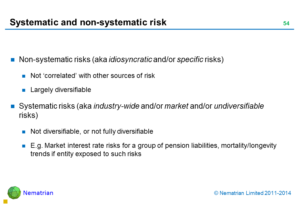 Bullet points include: Non-systematic risks (aka idiosyncratic and/or specific risks)  Not 'correlated' with other sources of risk Largely diversifiable Systematic risks (aka industry-wide and/or market and/or undiversifiable risks) Not diversifiable, or not fully diversifiable E.g. Market interest rate risks for a group of pension liabilities, mortality/longevity trends if entity exposed to such risks