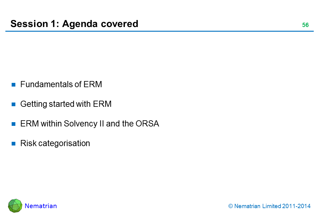 Bullet points include: Fundamentals of ERM Getting started with ERM ERM within Solvency II and the ORSA Risk categorisation