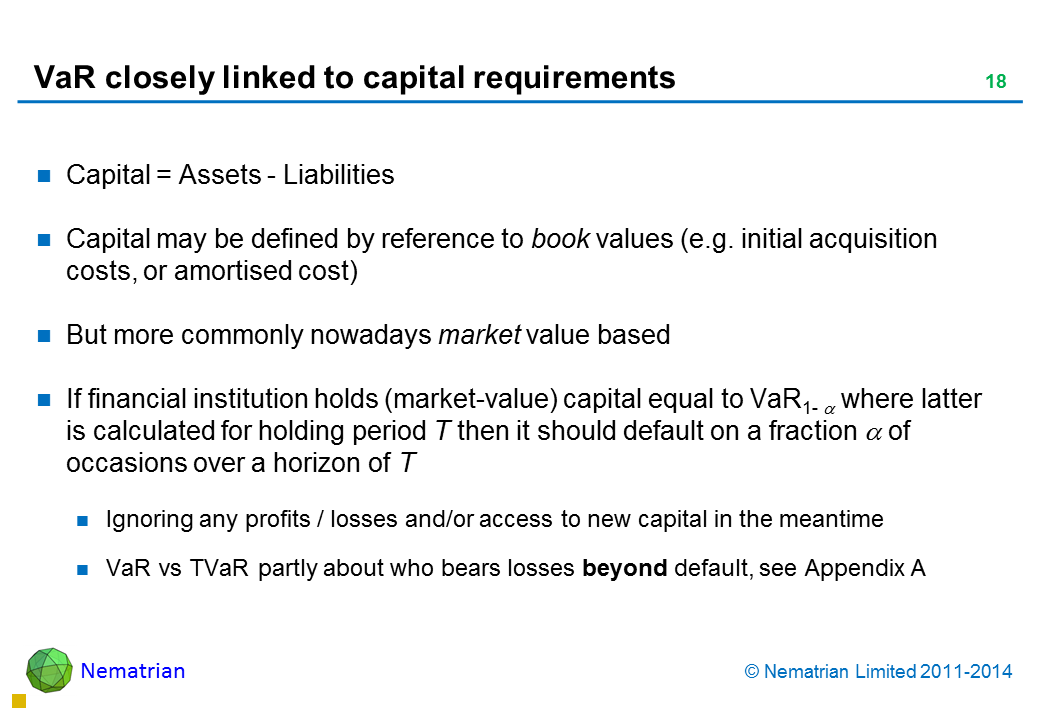 Bullet points include: Capital = Assets - Liabilities Capital may be defined by reference to book values (e.g. initial acquisition costs, or amortised cost) But more commonly nowadays market value based If financial institution holds (market-value) capital equal to VaR(alpha) where latter is calculated for holding period T then it should default on a fraction alpha of occasions over a horizon of T Ignoring any profits / losses and/or access to new capital in the meantime VaR vs TVaR partly about who bears losses beyond default, see Appendix A