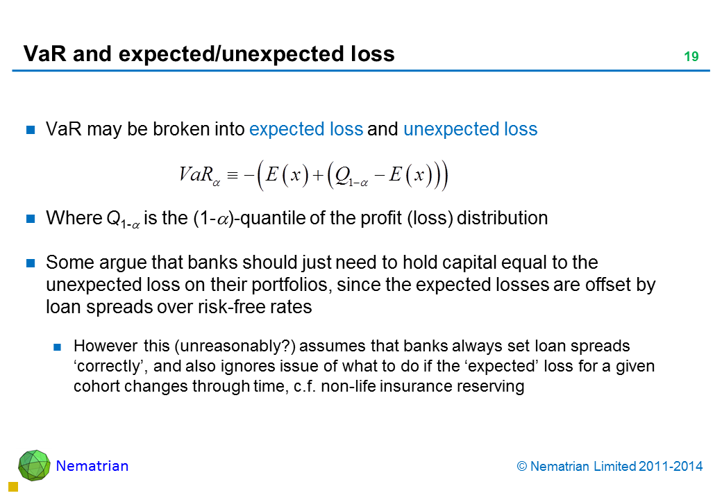 Bullet points include: VaR may be broken into expected loss and unexpected loss Where Q1-alpha is the (1-alpha)-quantile of the profit (loss) distribution Some argue that banks should just need to hold capital equal to the unexpected loss on their portfolios, since the expected losses are offset by loan spreads over risk-free rates However this (unreasonably?) assumes that banks always set loan spreads 'correctly', and also ignores issue of what to do if the 'expected' loss for a given cohort changes through time, c.f. non-life insurance reserving