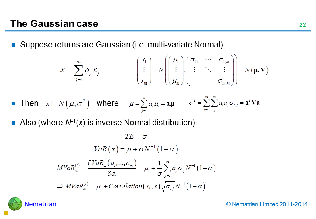 Bullet points include: Suppose returns are Gaussian (i.e. multi-variate Normal): Then where Also (where N-1(x) is inverse Normal distribution)