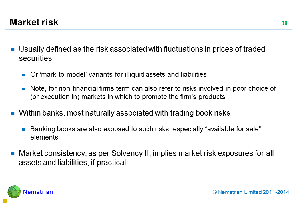 "Bullet points include: Usually defined as the risk associated with fluctuations in prices of traded securities Or 'mark-to-model' variants for illiquid assets and liabilities Note, for non-financial firms term can also refer to risks involved in poor choice of (or execution in) markets in which to promote the firm's products  Within banks, most naturally associated with trading book risks Banking books are also exposed to such risks, especially ""available for sale"" elements Market consistency, as per Solvency II, implies market risk exposures for all assets and liabilities, if practical"
