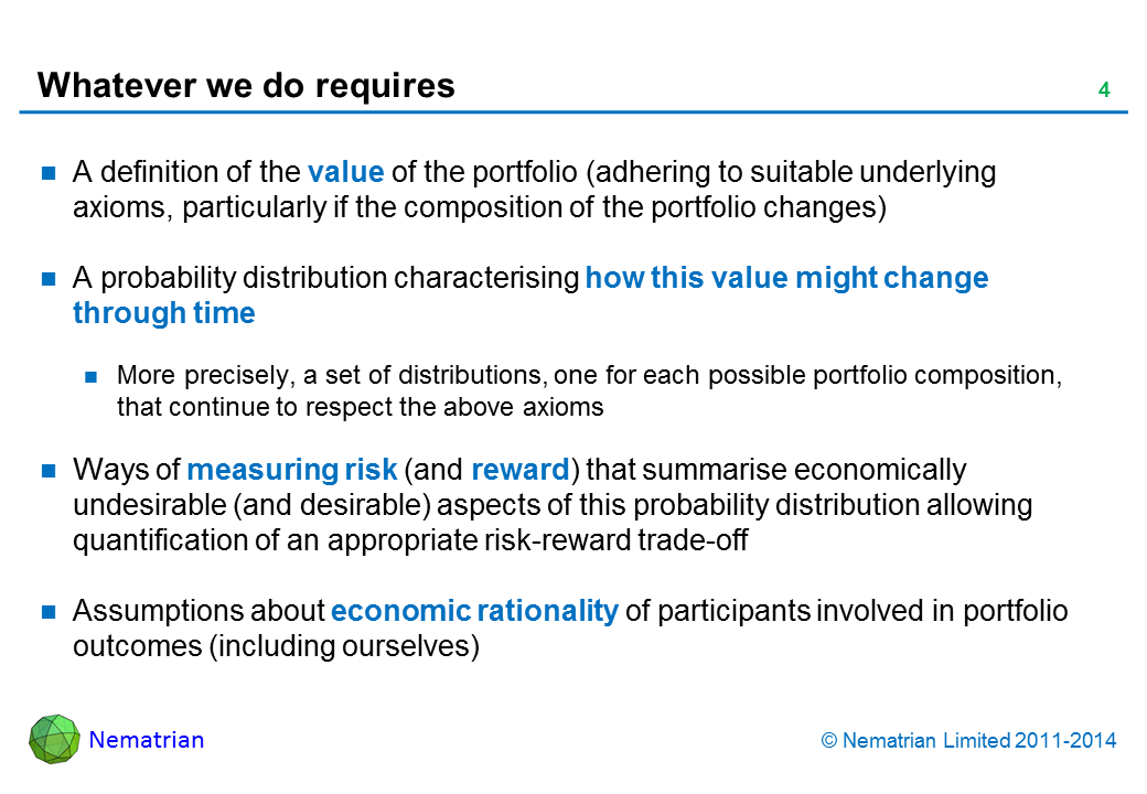 Bullet points include: A definition of the value of the portfolio (adhering to suitable underlying axioms, particularly if the composition of the portfolio changes) A probability distribution characterising how this value might change through time More precisely, a set of distributions, one for each possible portfolio composition, that continue to respect the above axioms Ways of measuring risk (and reward) that summarise economically undesirable (and desirable) aspects of this probability distribution allowing quantification of an appropriate risk-reward trade-off Assumptions about economic rationality of participants involved in portfolio outcomes (including ourselves)