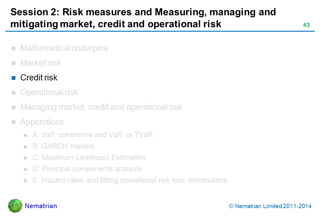 Bullet points include: Credit risk