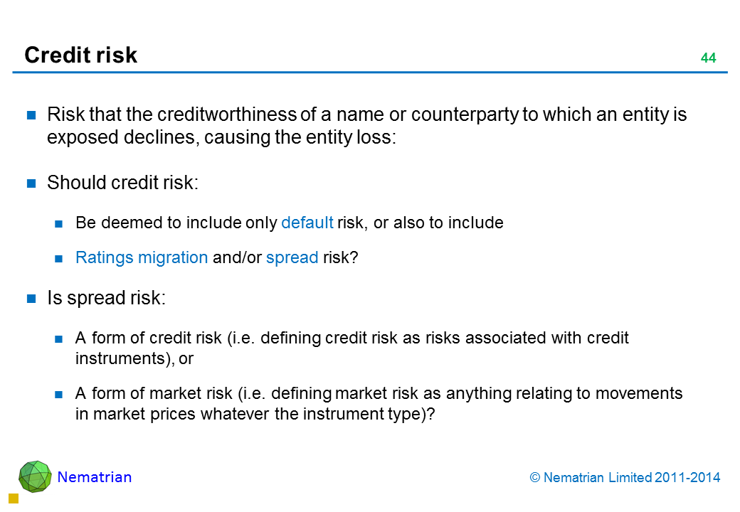 Bullet points include: Risk that the creditworthiness of a name or counterparty to which an entity is exposed declines, causing the entity loss: Should credit risk: Be deemed to include only default risk, or also to include Ratings migration and/or spread risk? Is spread risk: A form of credit risk (i.e. defining credit risk as risks associated with credit instruments), or A form of market risk (i.e. defining market risk as anything relating to movements in market prices whatever the instrument type)?