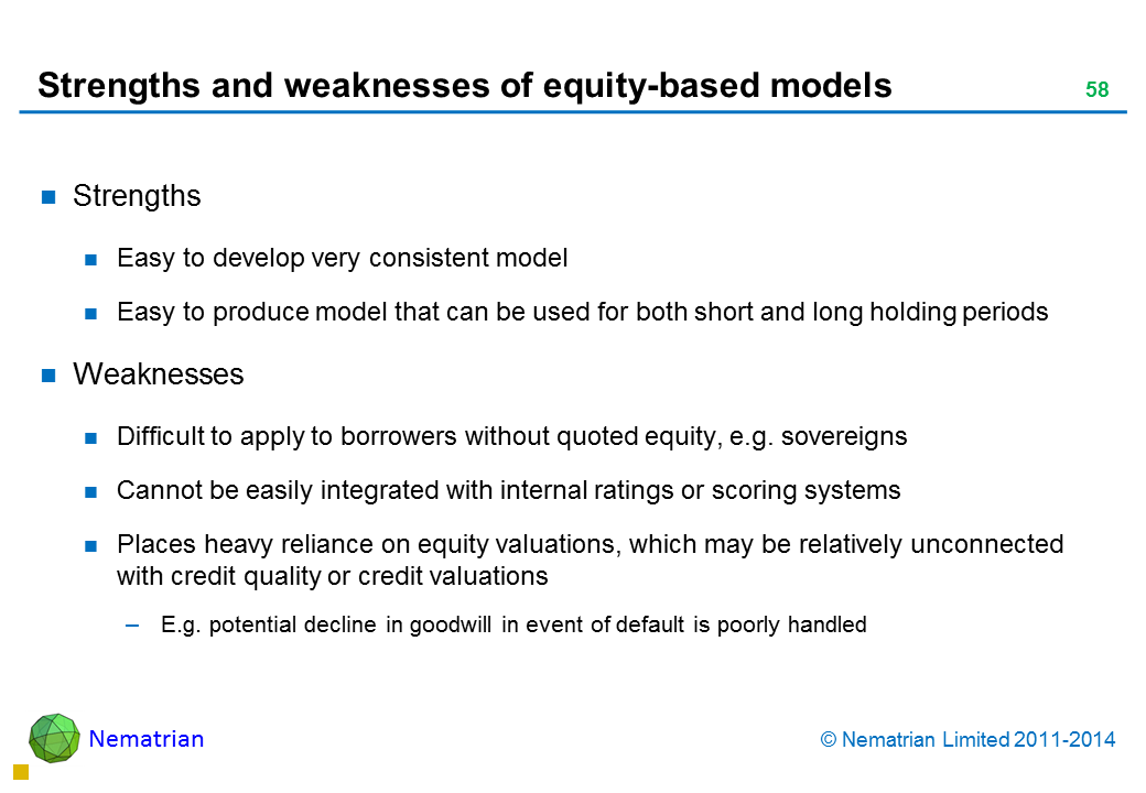 Bullet points include: Strengths Easy to develop very consistent model Easy to produce model that can be used for both short and long holding periods Weaknesses Difficult to apply to borrowers without quoted equity, e.g. sovereigns Cannot be easily integrated with internal ratings or scoring systems Places heavy reliance on equity valuations, which may be relatively unconnected with credit quality or credit valuations E.g. potential decline in goodwill in event of default is poorly handled