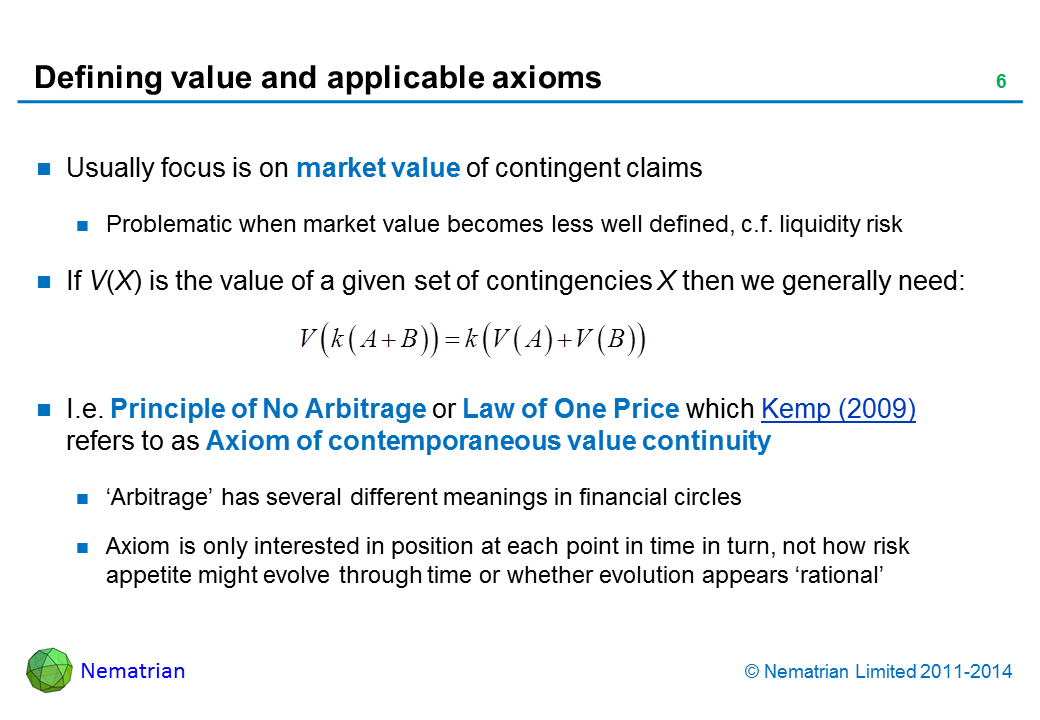 Bullet points include: Usually focus is on market value of contingent claims Problematic when market value becomes less well defined, c.f. liquidity risk If V(X) is the value of a given set of contingencies X then we generally need:  I.e. Principle of No Arbitrage or Law of One Price which Kemp (2009) refers to as Axiom of contemporaneous value continuity 'Arbitrage' has several different meanings in financial circles  Axiom is only interested in position at each point in time in turn, not how risk appetite might evolve through time or whether evolution appears 'rational'