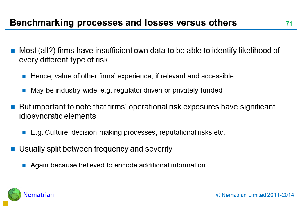 Bullet points include: Most (all?) firms have insufficient own data to be able to identify likelihood of every different type of risk Hence, value of other firms' experience, if relevant and accessible May be industry-wide, e.g. regulator driven or privately funded But important to note that firms' operational risk exposures have significant idiosyncratic elements E.g. Culture, decision-making processes, reputational risks etc. Usually split between frequency and severity Again because believed to encode additional information