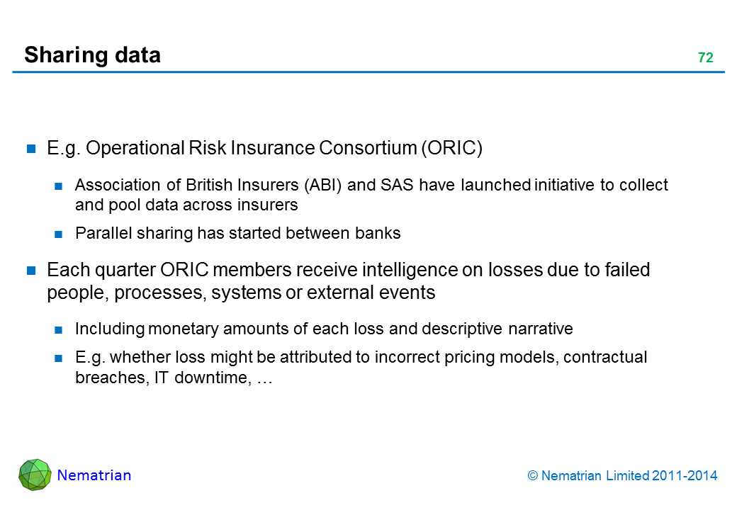 Bullet points include: E.g. Operational Risk Insurance Consortium (ORIC) Association of British Insurers (ABI) and SAS have launched initiative to collect and pool data across insurers Parallel sharing has started between banks Each quarter ORIC members receive intelligence on losses due to failed people, processes, systems or external events Including monetary amounts of each loss and descriptive narrative E.g. whether loss might be attributed to incorrect pricing models, contractual breaches, IT downtime, …