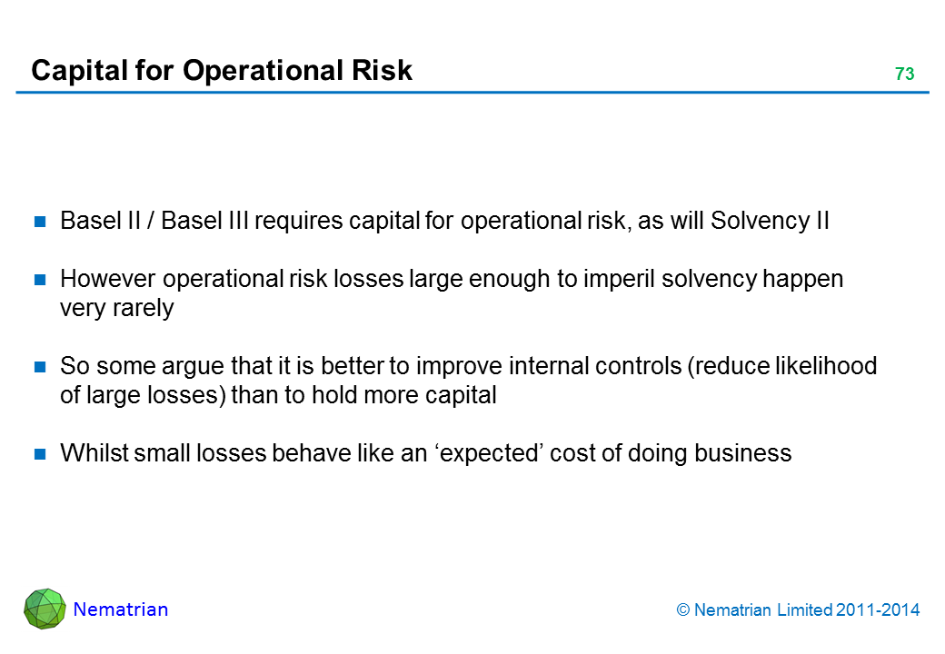 Bullet points include: Basel II / Basel III requires capital for operational risk, as will Solvency II However operational risk losses large enough to imperil solvency happen very rarely So some argue that it is better to improve internal controls (reduce likelihood of large losses) than to hold more capital Whilst small losses behave like an 'expected' cost of doing business
