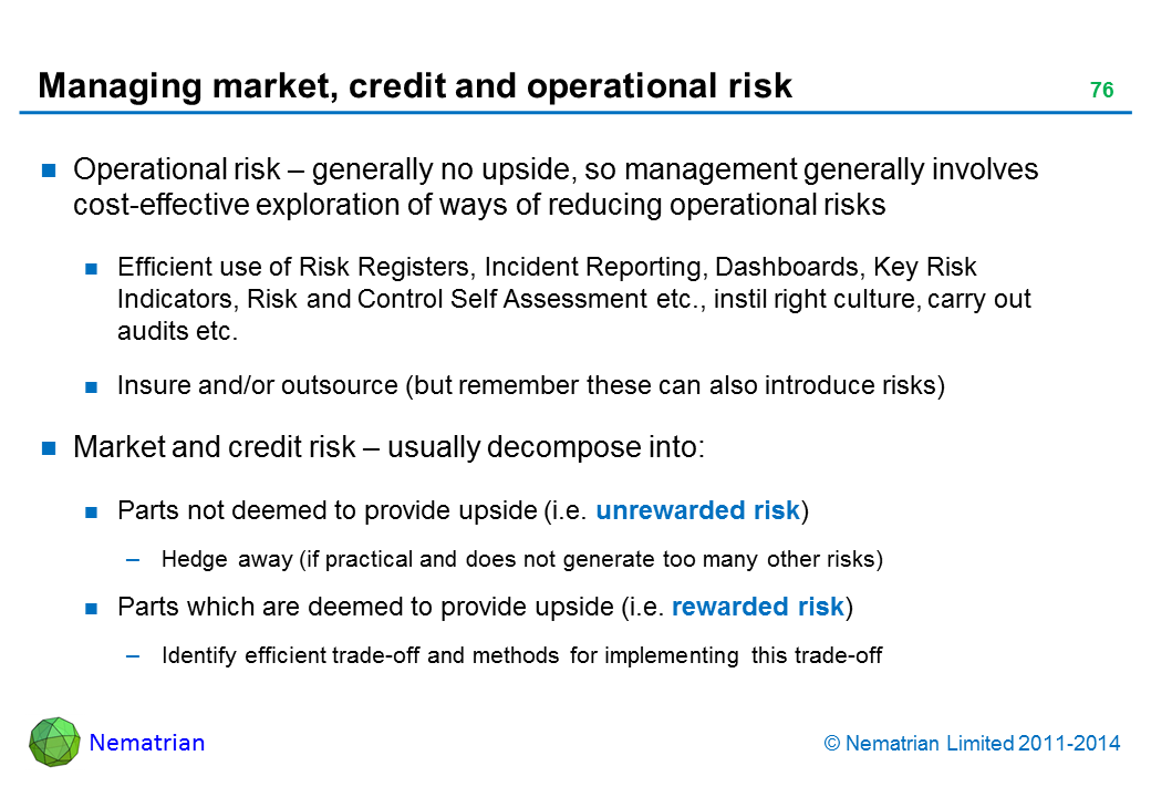 Bullet points include: Operational risk – generally no upside, so management generally involves cost-effective exploration of ways of reducing operational risks Efficient use of Risk Registers, Incident Reporting, Dashboards, Key Risk Indicators, Risk and Control Self Assessment etc., instil right culture, carry out audits etc. Insure and/or outsource (but remember these can also introduce risks) Market and credit risk – usually decompose into: Parts not deemed to provide upside (i.e. unrewarded risk) Hedge away (if practical and does not generate too many other risks) Parts which are deemed to provide upside (i.e. rewarded risk) Identify efficient trade-off and methods for implementing this trade-off