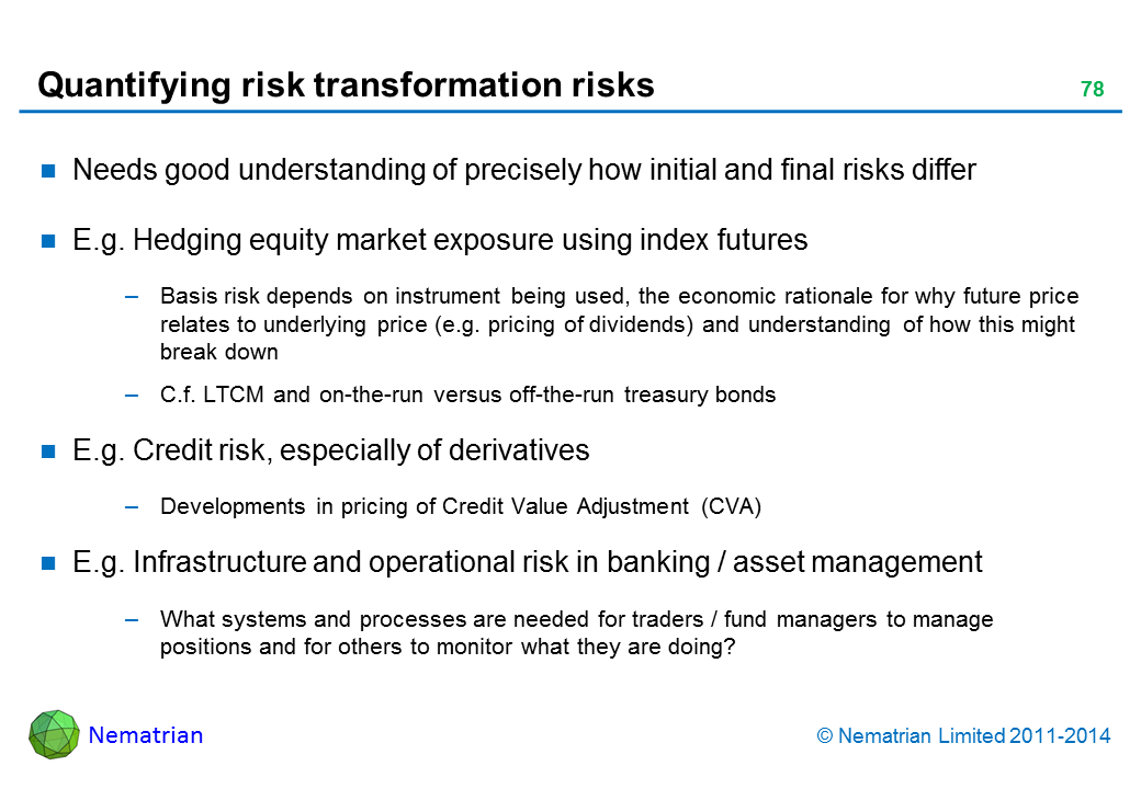 Bullet points include: Needs good understanding of precisely how initial and final risks differ E.g. Hedging equity market exposure using index futures Basis risk depends on instrument being used, the economic rationale for why future price relates to underlying price (e.g. pricing of dividends) and understanding of how this might break down C.f. LTCM and on-the-run versus off-the-run treasury bonds E.g. Credit risk, especially of derivatives Developments in pricing of Credit Value Adjustment (CVA) E.g. Infrastructure and operational risk in banking / asset management What systems and processes are needed for traders / fund managers to manage positions and for others to monitor what they are doing?
