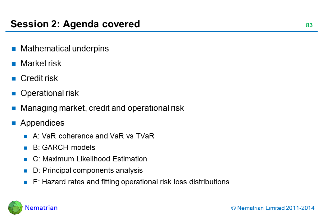Bullet points include: Mathematical underpins Market risk Credit risk Operational risk Managing market, credit and operational risk Appendices A: VaR coherence and VaR vs TVaR B: GARCH models C: Maximum Likelihood Estimation D: Principal components analysis E: Hazard rates and fitting operational risk loss distributions