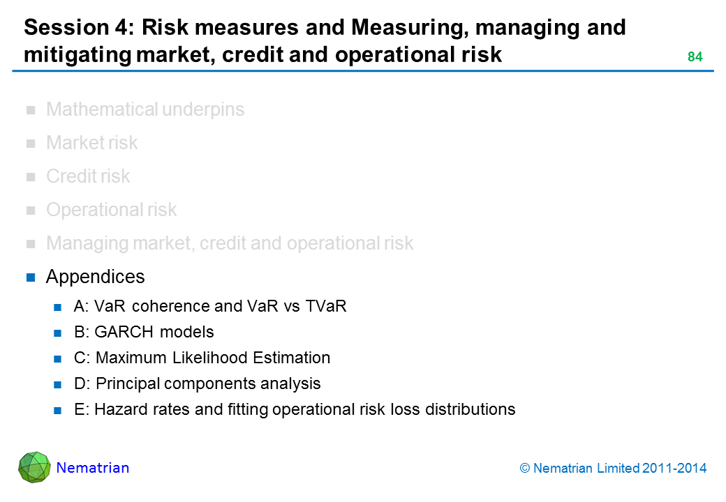 Bullet points include: Appendices A: VaR coherence and VaR vs TVaR B: GARCH models C: Maximum Likelihood Estimation D: Principal components analysis E: Hazard rates and fitting operational risk loss distributions