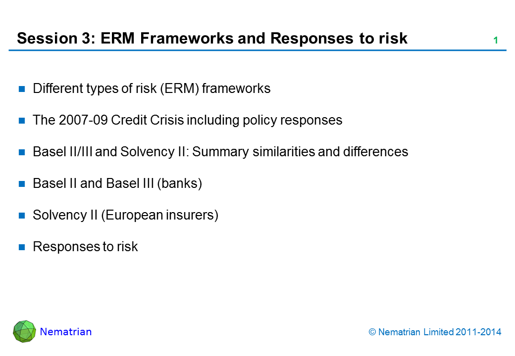 Bullet points include: Different types of risk (ERM) frameworks The 2007-09 Credit Crisis including policy responses Basel II/III and Solvency II: Summary similarities and differences Basel II and Basel III (banks) Solvency II (European insurers) Responses to risk