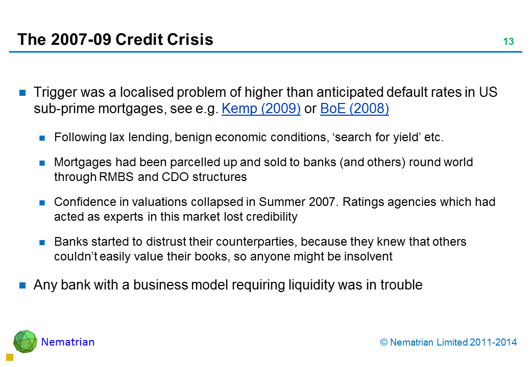 Bullet points include: Trigger was a localised problem of higher than anticipated default rates in US sub-prime mortgages, see e.g. Kemp (2009) or BoE (2008) Following lax lending, benign economic conditions, 'search for yield' etc. Mortgages had been parcelled up and sold to banks (and others) round world through RMBS and CDO structures Confidence in valuations collapsed in Summer 2007. Ratings agencies which had acted as experts in this market lost credibility Banks started to distrust their counterparties, because they knew that others couldn't easily value their books, so anyone might be insolvent Any bank with a business model requiring liquidity was in trouble