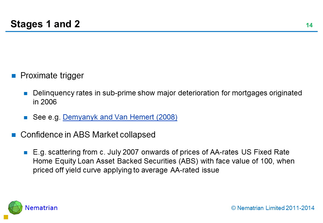 Bullet points include: Proximate trigger Delinquency rates in sub-prime show major deterioration for mortgages originated in 2006 See e.g. Demyanyk and Van Hemert (2008) Confidence in ABS Market collapsed E.g. scattering from c. July 2007 onwards of prices of AA-rates US Fixed Rate Home Equity Loan Asset Backed Securities (ABS) with face value of 100, when priced off yield curve applying to average AA-rated issue