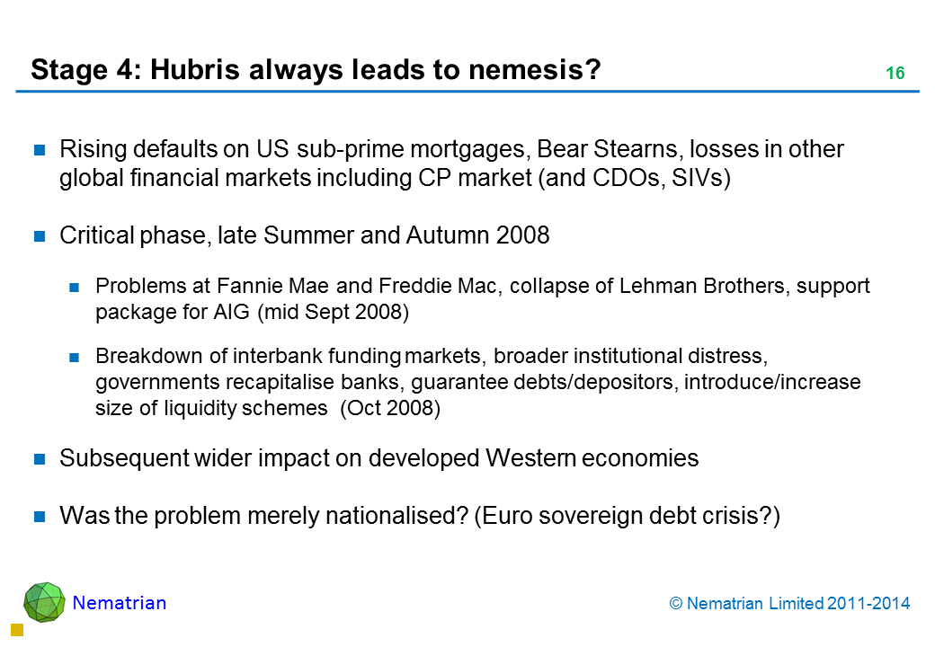 Bullet points include: Rising defaults on US sub-prime mortgages, Bear Stearns, losses in other global financial markets including CP market (and CDOs, SIVs) Critical phase, late Summer and Autumn 2008 Problems at Fannie Mae and Freddie Mac, collapse of Lehman Brothers, support package for AIG (mid Sept 2008) Breakdown of interbank funding markets, broader institutional distress, governments recapitalise banks, guarantee debts/depositors, introduce/increase size of liquidity schemes  (Oct 2008) Subsequent wider impact on developed Western economies Was the problem merely nationalised? (Euro sovereign debt crisis?)