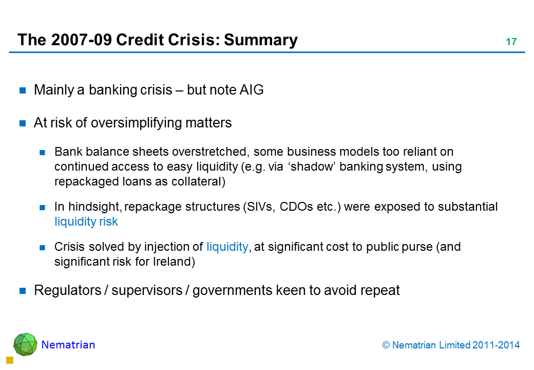 Bullet points include: Mainly a banking crisis – but note AIG At risk of oversimplifying matters Bank balance sheets overstretched, some business models too reliant on continued access to easy liquidity (e.g. via 'shadow' banking system, using repackaged loans as collateral) In hindsight, repackage structures (SIVs, CDOs etc.) were exposed to substantial liquidity risk Crisis solved by injection of liquidity, at significant cost to public purse (and significant risk for Ireland) Regulators / supervisors / governments keen to avoid repeat