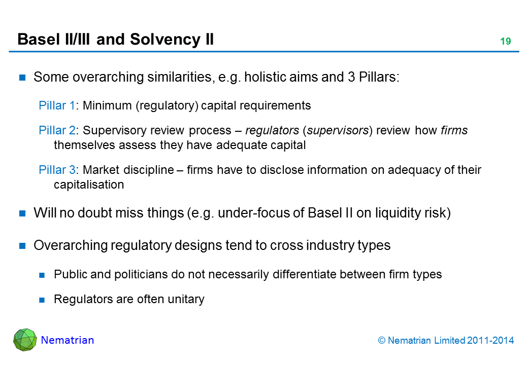 Bullet points include: Some overarching similarities, e.g. holistic aims and 3 Pillars: Pillar 1: Minimum (regulatory) capital requirements Pillar 2: Supervisory review process – regulators (supervisors) review how firms themselves assess they have adequate capital Pillar 3: Market discipline – firms have to disclose information on adequacy of their capitalisation Will no doubt miss things (e.g. under-focus of Basel II on liquidity risk) Overarching regulatory designs tend to cross industry types Public and politicians do not necessarily differentiate between firm types Regulators are often unitary