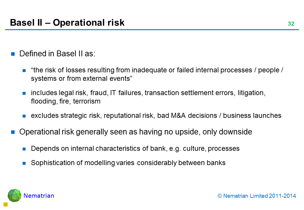 "Bullet points include: Defined in Basel II as: ""the risk of losses resulting from inadequate or failed internal processes / people / systems or from external events"" includes legal risk, fraud, IT failures, transaction settlement errors, litigation, flooding, fire, terrorism excludes strategic risk, reputational risk, bad M&A decisions / business launches Operational risk generally seen as having no upside, only downside Depends on internal characteristics of bank, e.g. culture, processes Sophistication of modelling varies considerably between banks"