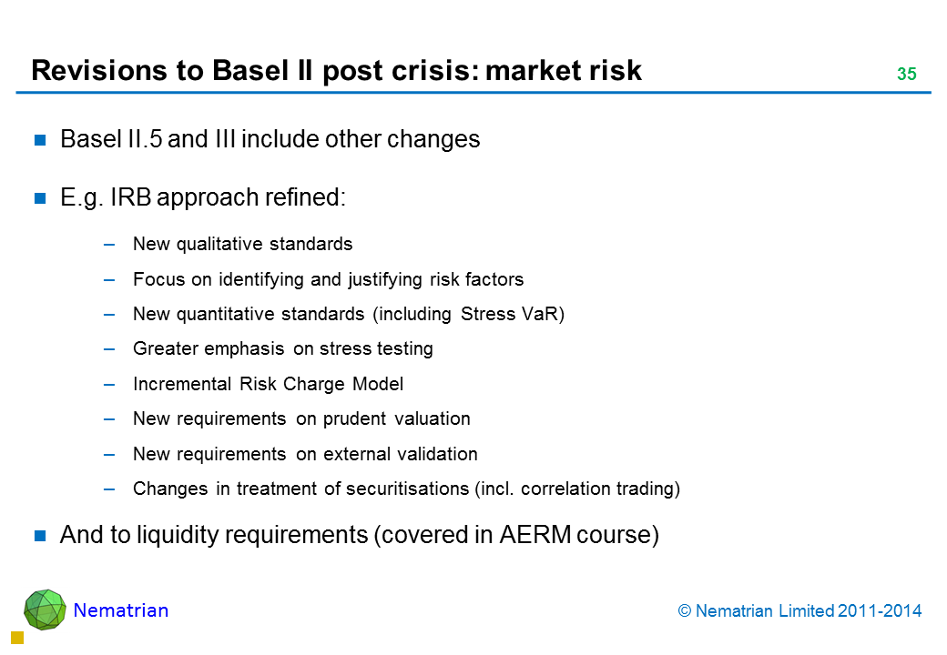 Bullet points include: Basel II.5 and III include other changes. E.g. IRB approach refined: New qualitative standards. Focus on identifying and justifying risk factors. New quantitative standards (including Stress VaR). Greater emphasis on stress testing. Incremental Risk Charge Model. New requirements on prudent valuation. New requirements on external validation. Changes in treatment of securitisations (incl. correlation trading). And to liquidity requirements (covered in AERM course)