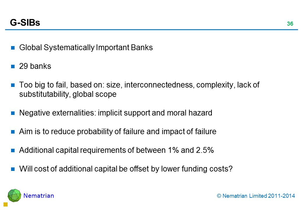 Bullet points include: Global Systematically Important Banks. 29 banks. Too big to fail, based on: Size, interconnectedness, complexity, lack of substitutability, global scope. Negative externalities. Implicit support and moral hazard. Aim is to reduce probability of failure and impact of failure. Additional capital requirements of between 1% and 2.5%. Will cost of additional capital be offset by lower funding costs?