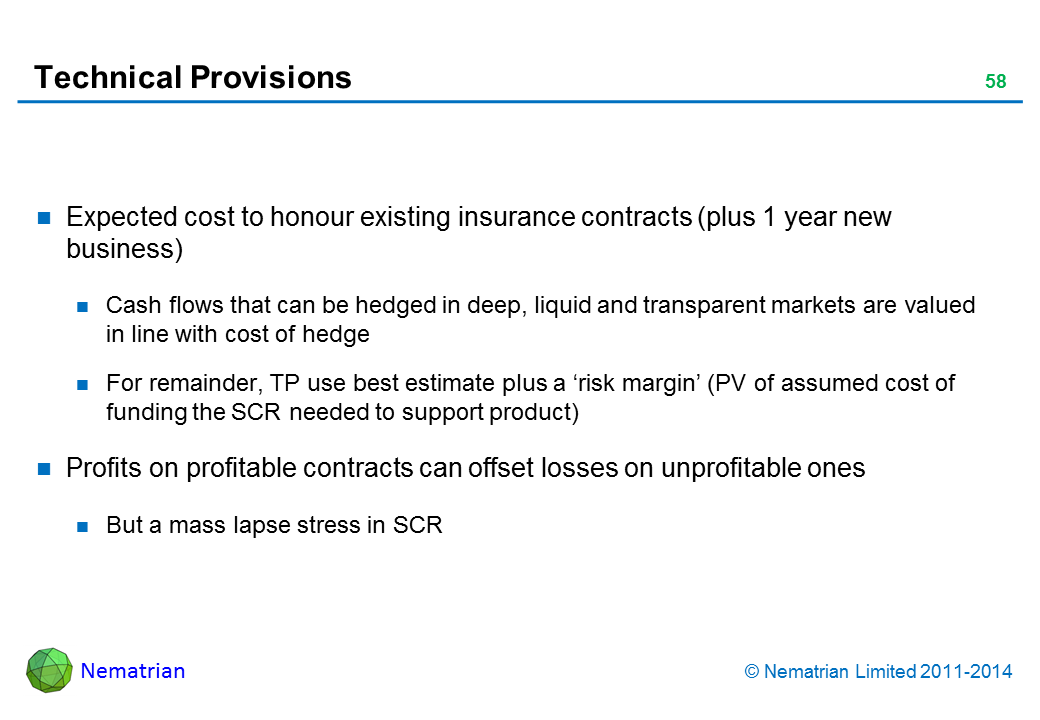 Bullet points include: Expected cost to honour existing insurance contracts (plus 1 year new business) Cash flows that can be hedged in deep, liquid and transparent markets are valued in line with cost of hedge For remainder, TP use best estimate plus a 'risk margin' (PV of assumed cost of funding the SCR needed to support product) Profits on profitable contracts can offset losses on unprofitable ones But a mass lapse stress in SCR