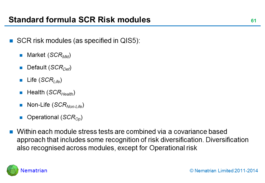Bullet points include: SCR risk modules (as specified in QIS5): Market (SCRMkt) Default (SCRDef) Life (SCRLife) Health (SCRHealth) Non-Life (SCRNon-Life) Operational (SCROp) Within each module stress tests are combined via a covariance based approach that includes some recognition of risk diversification. Diversification also recognised across modules, except for Operational risk