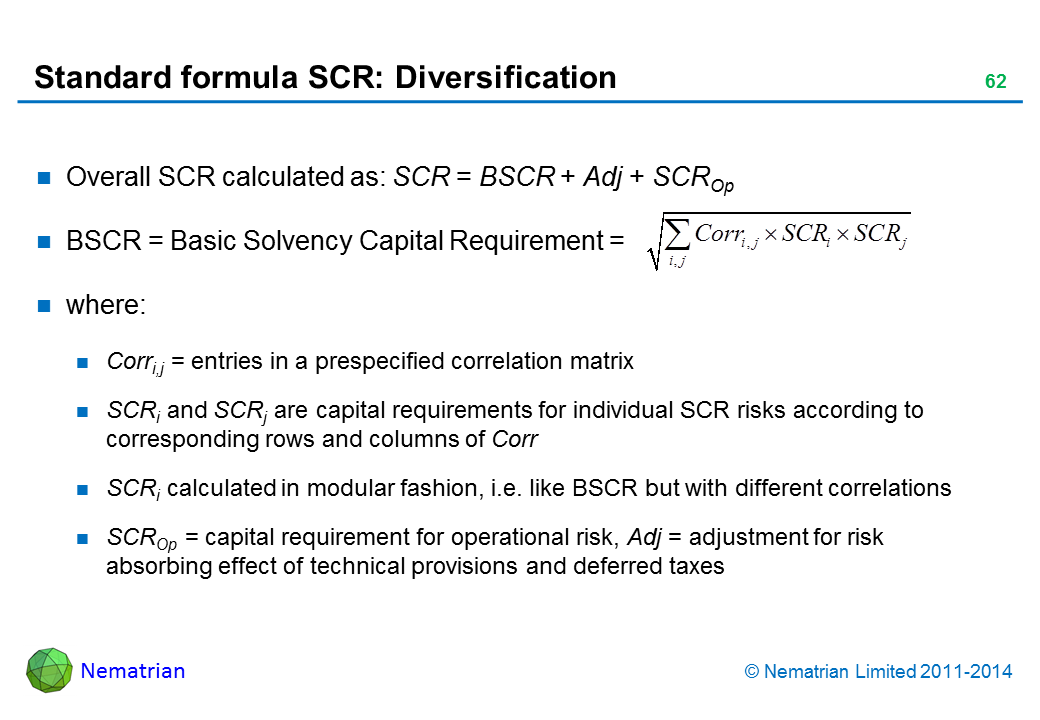 Bullet points include: Overall SCR calculated as: SCR = BSCR + Adj + SCROp BSCR = Basic Solvency Capital Requirement =  where: Corri,j = entries in a prespecified correlation matrix SCRi and SCRj are capital requirements for individual SCR risks according to corresponding rows and columns of Corr SCRi calculated in modular fashion, i.e. like BSCR but with different correlations SCROp = capital requirement for operational risk, Adj = adjustment for risk absorbing effect of technical provisions and deferred taxes