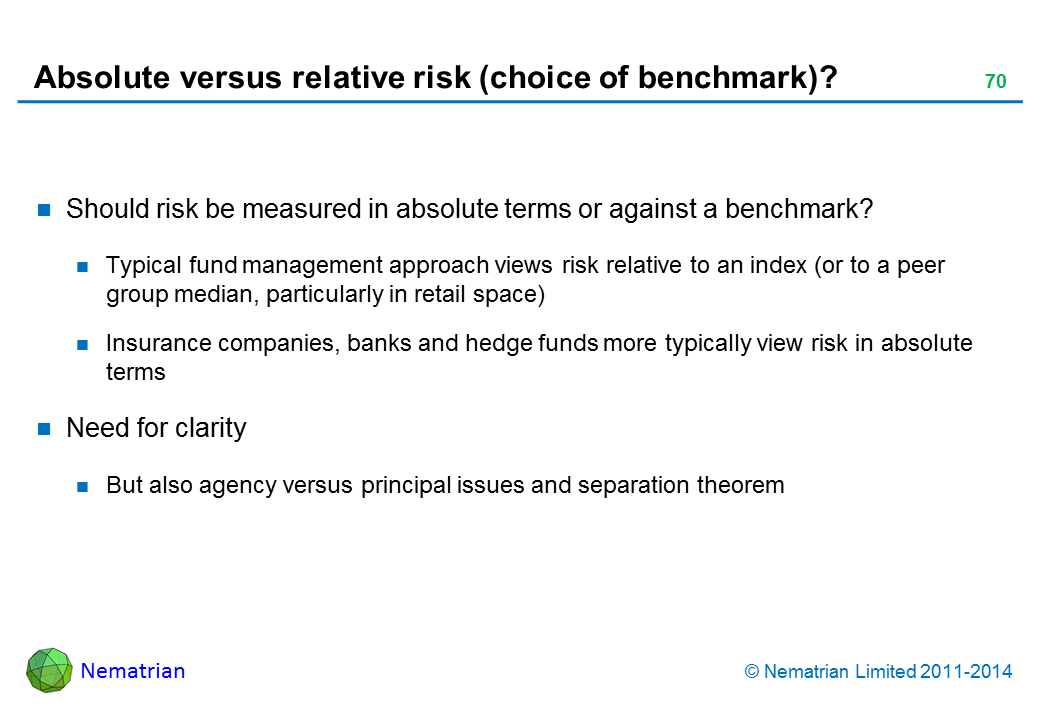 Bullet points include: Should risk be measured in absolute terms or against a benchmark? Typical fund management approach views risk relative to an index (or to a peer group median, particularly in retail space) Insurance companies, banks and hedge funds more typically view risk in absolute terms Need for clarity But also agency versus principal issues and separation theorem