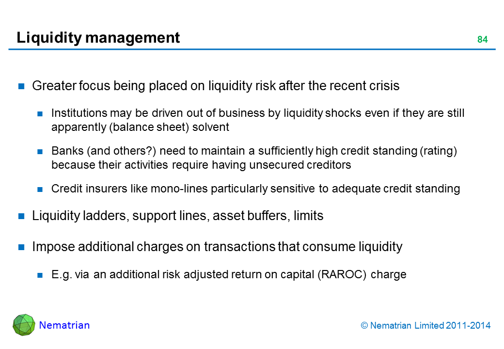 Bullet points include: Greater focus being placed on liquidity risk after the recent crisis Institutions may be driven out of business by liquidity shocks even if they are still apparently (balance sheet) solvent Banks (and others?) need to maintain a sufficiently high credit standing (rating) because their activities require having unsecured creditors Credit insurers like mono-lines particularly sensitive to adequate credit standing Liquidity ladders, support lines, asset buffers, limits Impose additional charges on transactions that consume liquidity E.g. via an additional risk adjusted return on capital (RAROC) charge