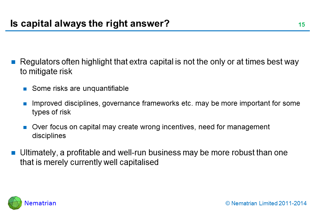 Bullet points include: Regulators often highlight that extra capital is not the only or at times best way to mitigate risk Some risks are unquantifiable Improved disciplines, governance frameworks etc. may be more important for some types of risk Over focus on capital may create wrong incentives, need for management disciplines Ultimately, a profitable and well-run business may be more robust than one that is merely currently well capitalised