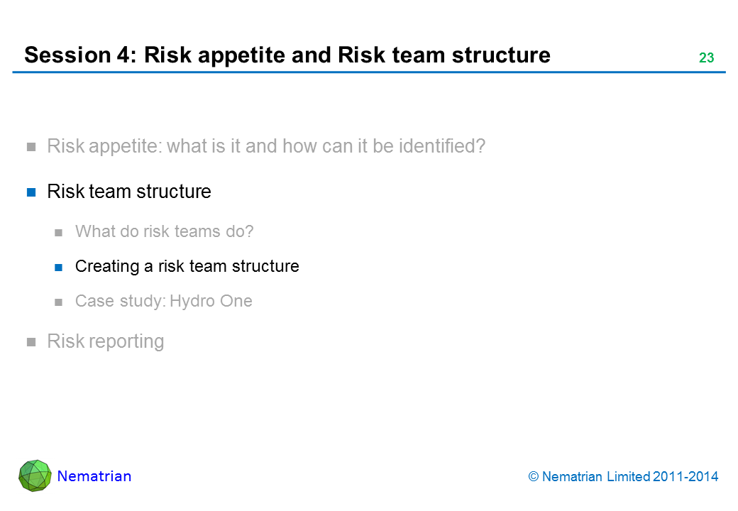 Bullet points include: Risk team structure Creating a risk team structure