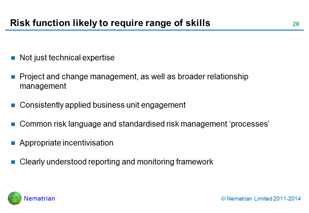 Bullet points include: Not just technical expertise Project and change management, as well as broader relationship management Consistently applied business unit engagement Common risk language and standardised risk management 'processes' Appropriate incentivisation Clearly understood reporting and monitoring framework