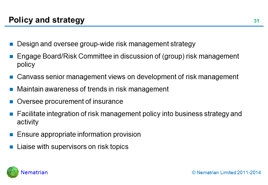 Bullet points include: Design and oversee group-wide risk management strategy Engage Board/Risk Committee in discussion of (group) risk management policy Canvass senior management views on development of risk management Maintain awareness of trends in risk management Oversee procurement of insurance Facilitate integration of risk management policy into business strategy and activity Ensure appropriate information provision Liaise with supervisors on risk topics