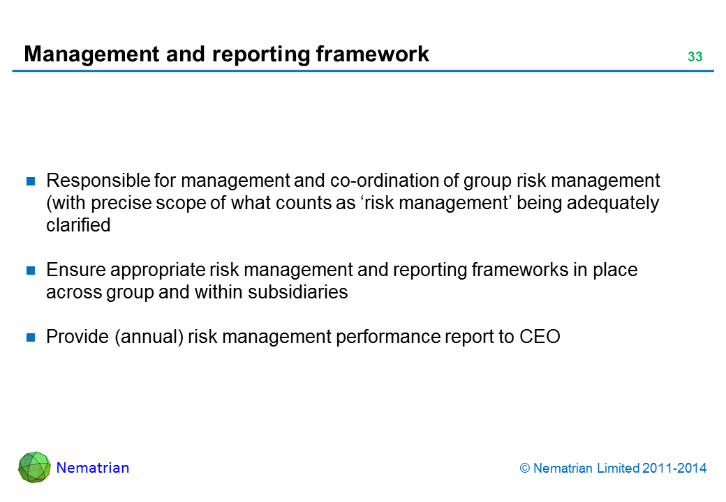 Bullet points include: Responsible for management and co-ordination of group risk management (with precise scope of what counts as 'risk management' being adequately clarified Ensure appropriate risk management and reporting frameworks in place across group and within subsidiaries Provide (annual) risk management performance report to CEO