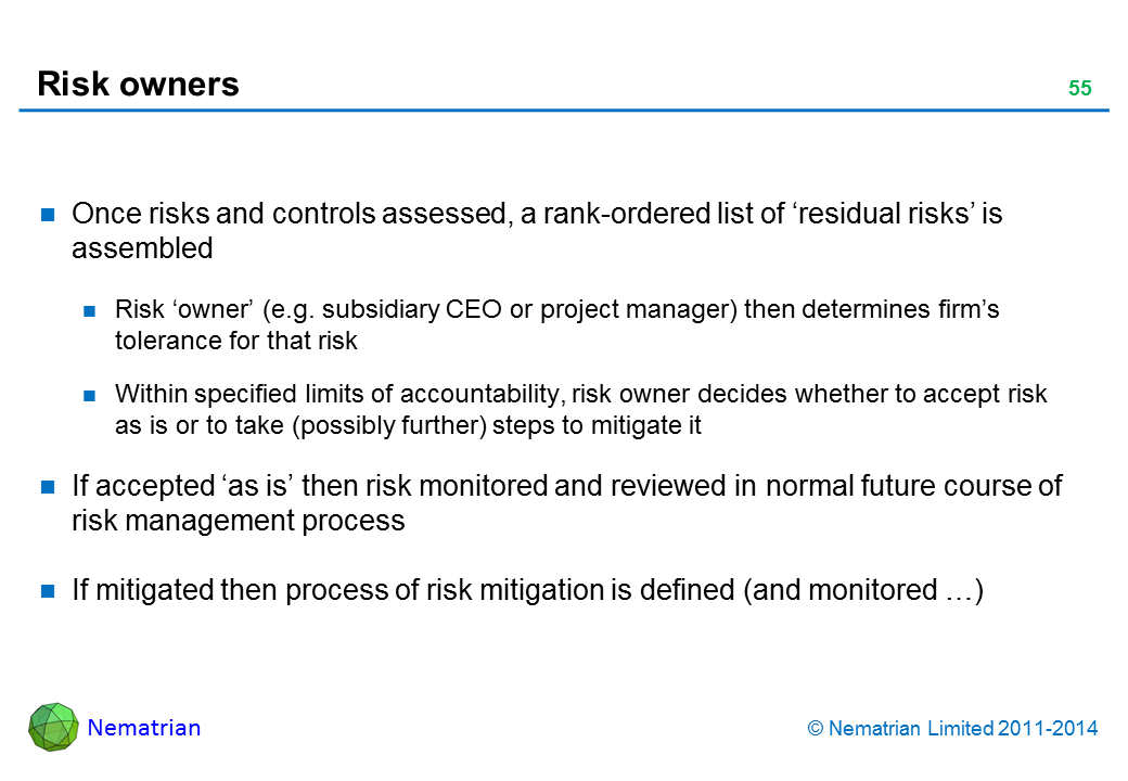 Bullet points include: Once risks and controls assessed, a rank-ordered list of 'residual risks' is assembled Risk 'owner' (e.g. subsidiary CEO or project manager) then determines firm's tolerance for that risk Within specified limits of accountability, risk owner decides whether to accept risk as is or to take (possibly further) steps to mitigate it If accepted 'as is' then risk monitored and reviewed in normal future course of risk management process If mitigated then process of risk mitigation is defined (and monitored …)