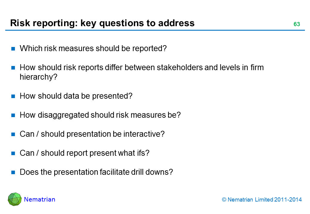 Bullet points include: Which risk measures should be reported? How should risk reports differ between stakeholders and levels in firm hierarchy? How should data be presented? How disaggregated should risk measures be? Can / should presentation be interactive? Can / should report present what ifs? Does the presentation facilitate drill downs?