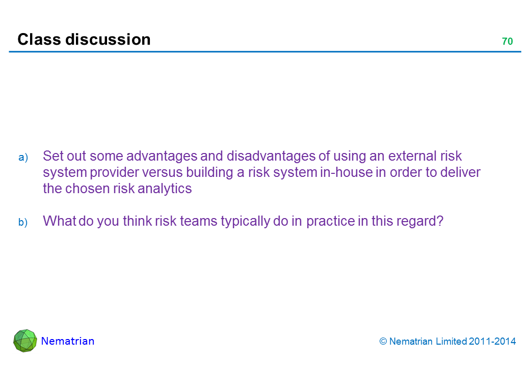 Bullet points include: Set out some advantages and disadvantages of using an external risk system provider versus building a risk system in-house in order to deliver the chosen risk analytics What do you think risk teams typically do in practice in this regard?