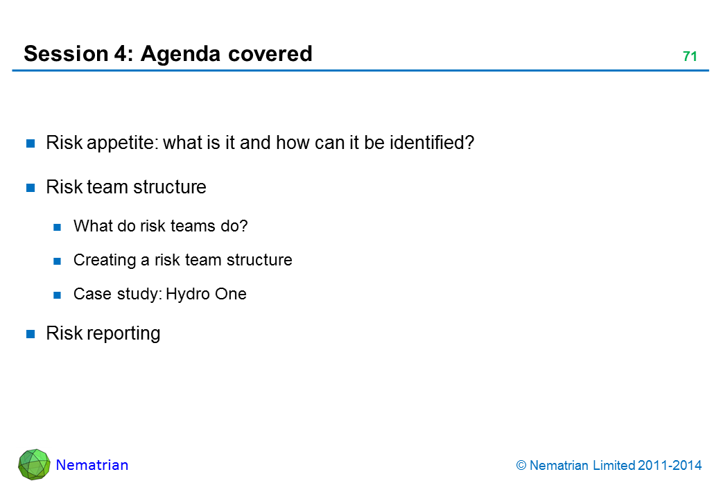 Bullet points include: Risk appetite: what is it and how can it be identified? Risk team structure What do risk teams do? Creating a risk team structure Case study: Hydro One Risk reporting