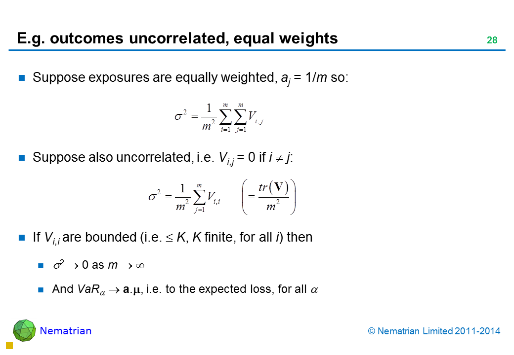 Bullet points include: Suppose exposures are equally weighted, aj = 1/m so:  Suppose also uncorrelated, i.e. Vi,j = 0 if i  j: If Vi,i are bounded (i.e. K, K finite, for all i) then as m And VaR a., i.e. to the expected loss, for all