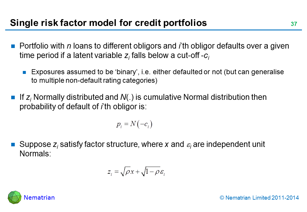 Bullet points include: Portfolio with n loans to different obligors and i'th obligor defaults over a given time period if a latent variable zi falls below a cut-off -ci Exposures assumed to be 'binary', i.e. either defaulted or not (but can generalise to multiple non-default rating categories) If zi Normally distributed and N(.) is cumulative Normal distribution then probability of default of i'th obligor is: Suppose zi satisfy factor structure, where x and i are independent unit Normals: