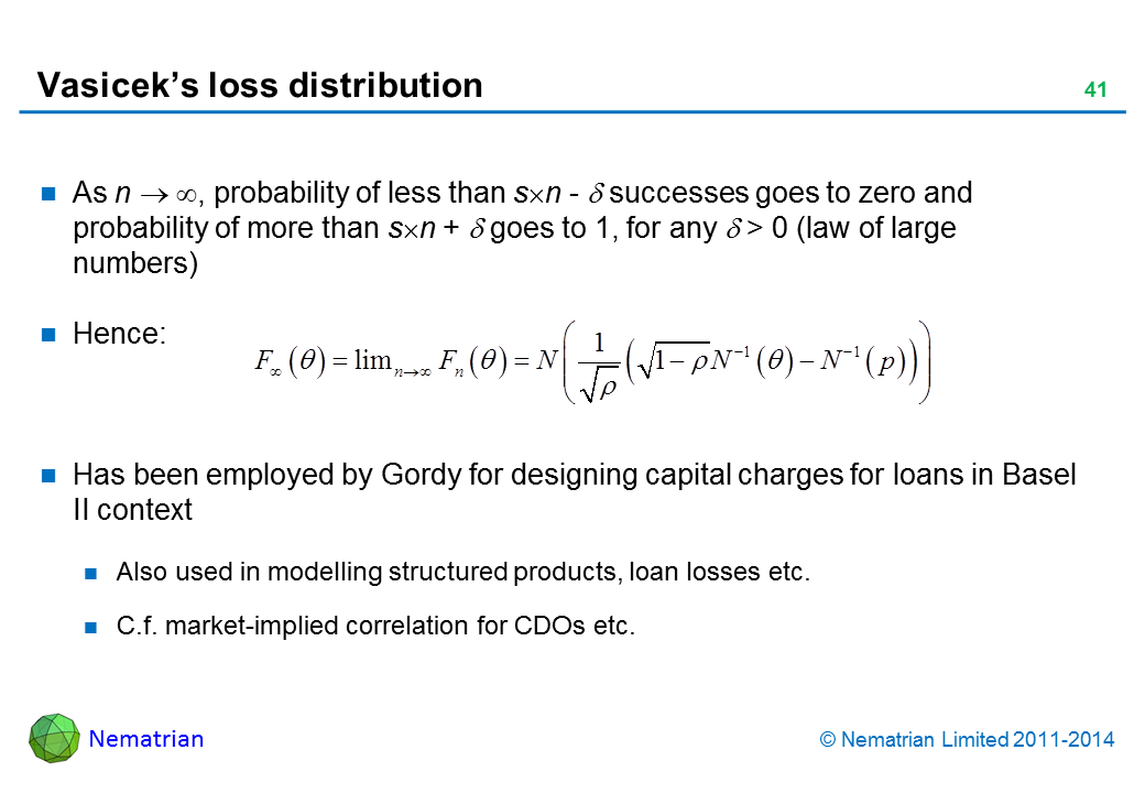 Bullet points include: As n , probability of less than s n - = successes goes to zero and probability of more than s n +   goes to 1, for any  > 0 (law of large numbers) Hence: Has been employed by Gordy for designing capital charges for loans in Basel II context Also used in modelling structured products, loan losses etc. C.f. market-implied correlation for CDOs etc.
