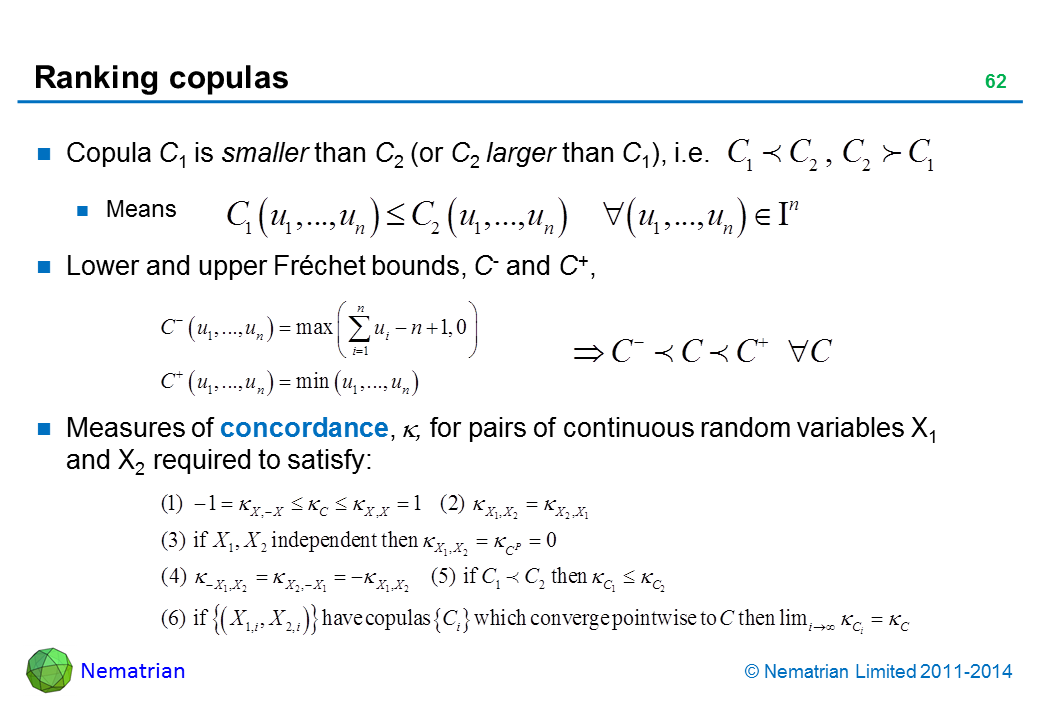 Bullet points include: Copula C1 is smaller than C2 (or C2 larger than C1), i.e. Means Lower and upper Fréchet bounds, C- and C+,  Measures of concordance, , for pairs of continuous random variables X1 and X2 required to satisfy: