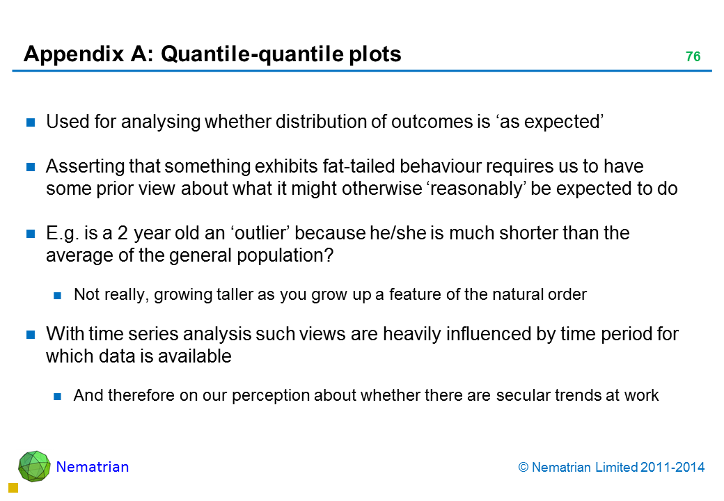 Bullet points include: Used for analysing whether distribution of outcomes is 'as expected'Asserting that something exhibits fat-tailed behaviour requires us to have some prior view about what it might otherwise 'reasonably' be expected to do E.g. is a 2 year old an 'outlier' because he/she is much shorter than the average of the general population? Not really, growing taller as you grow up a feature of the natural order With time series analysis such views are heavily influenced by time period for which data is available And therefore on our perception about whether there are secular trends at work